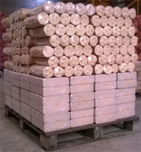 Full Pallet, 96 Packs Round and Birch briquette combination (48 packs of each) Mixed Pallet Briquette